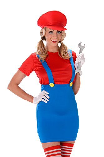 Women's Red Plumber Costume - Halloween (M) (Sexy Plumber Costume compare prices)