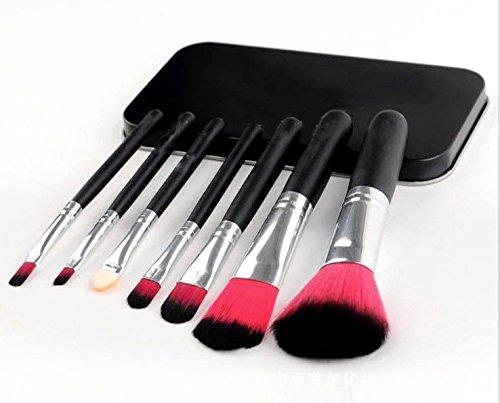 E-TOP 7pcs Pinceaux Maquillage Kit Pinceau de Maquillage Brosse Cosmétique Brosses Maquillage Set Professionel Fondation Rougir Yeux Poudre Noir