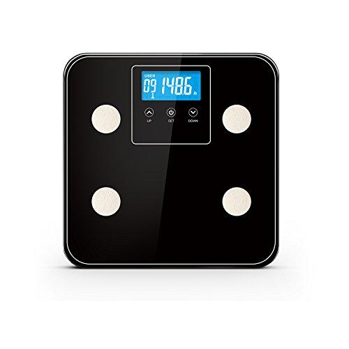 Smart Weigh grasso corporeo Bilancia di precisione digitale con piattaforma in vetro temperato Misure 180kg/Lb capacità di peso, 10utenti, riconoscimento automatico, misura peso, grasso corporeo, acqua, muscoli, calorie e BMI, colore: nero