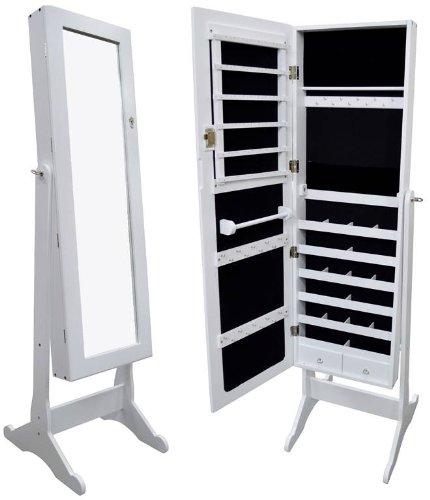White Mirrored Jewelry Cabinet Armoire Organizer Storage Box Stand Cheval front-201605
