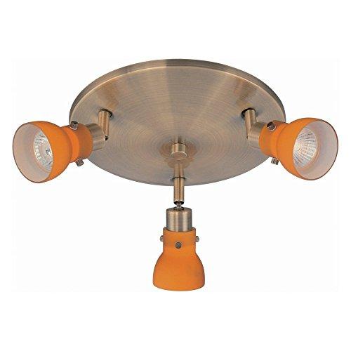 Lite Source LS-17093AB/AMB Director II 3-Head Wall/Flush Mount Spot Light, Antique Brass with Amber