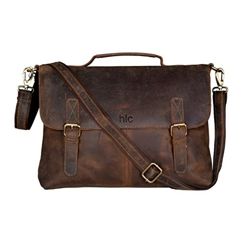 Handolederco Vintage Buffalo Leather Messenger Satchel Laptop Briefcase Men's Bag Crazy Vintage Leather Messenger Briefcase Bag