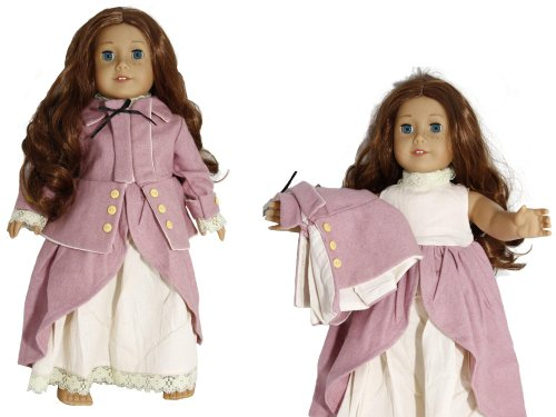 Rose Pink Wool Colonial Horse Riding Habit Jacket & Skirt Underskirt Doll Clothes Dress Outfit Fits American Girl 18