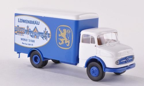 mercedes-l322-vagon-contenedor-lowenbrau-world-fair-usa-modelo-de-auto-modello-completo-brekina-187