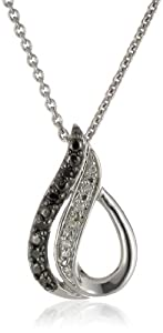 Sterling Silver Black and White Diamond Accent Drop Pendant Necklace (1/20 cttw), 18""