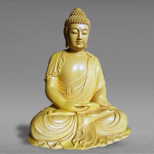 職人による手作りの精巧な木像 工芸美術品 仏像 阿弥陀如来