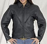 Motorcycle Jackets, Womens Leather Motorcycle Jacket with Insulated Zip Out Lining and V-Shaped Braid detail, Available in all Sizes, Size : XL, X-Large, 12 to 14 by NYC Leather Factory Outlet