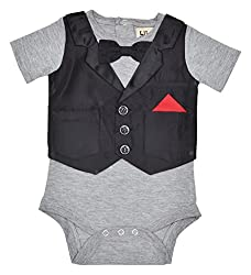 Lil Penguin Short sleeved boy's romper with Party Jacket and Bow