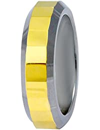 Sparkling Drop Exclusive Designer Steel Finish Tungsten Two Tone Textured Band Ring SDC095R119