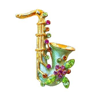 Saxophone Pin Brooch 24K Gold Swarovski Crystals Jewelry Green Pink Yellow Cr...