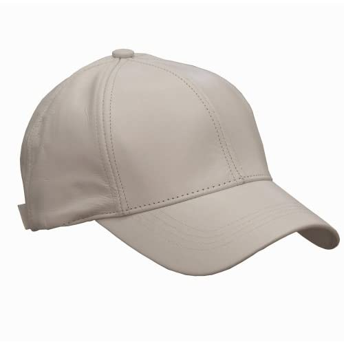 White Deluxe Genuine Leather Baseball Cap Hat Made In The USA