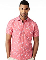 North Coast Pure Cotton Boat Print Slim Fit Shirt