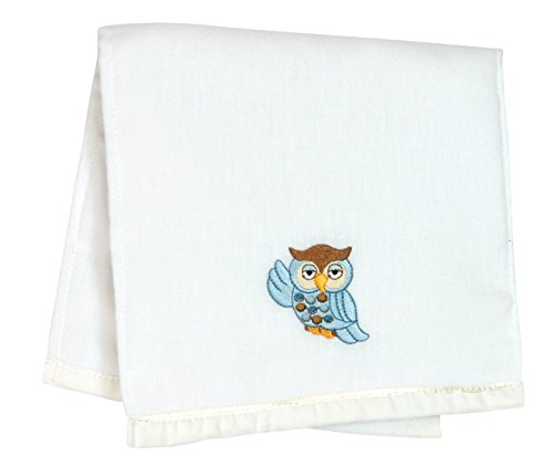 Stephan Baby Sleepy Owl Embroidered Cotton Burp Pad, Blue