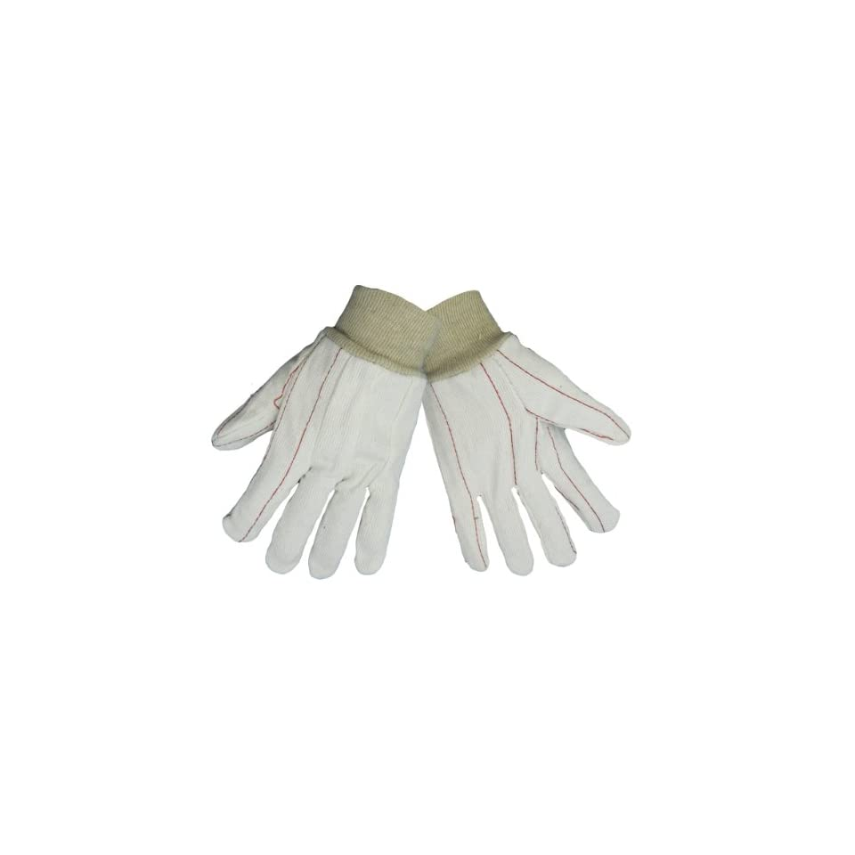 Global Glove C18C 100 Percent Cotton Corded Canvas Glove with Knit Wrist Cuff, Work, Large, Natural (Case of 144)