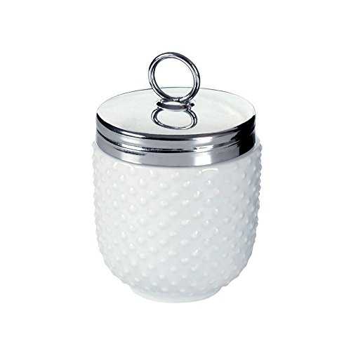 DRH Egg Coddler / Egg Poacher, White Embossed with Dots