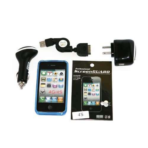 Cell Factory Outlet Brand  High Quality iphone 4/4s Blue Flexible Tpu Case, Car Charger, Home Charger, Sync Cable, Screen Protector Combo Pack