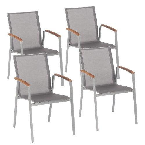 4 Stück Stapelsessel Top, Gestell graphit, Bezug silber-grau, Teakarmlehnen bestellen