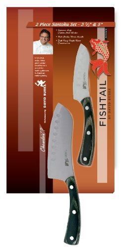 Fishtail Series Cutlery By David Burke 2 Piece Santoku Knife Set Includes  3.5u2033 And 5u2033 Santoku Knives New!