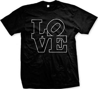 LOVE Letters Men's T-shirt, Hot Trendy Block Letters LOVE Design Men's Tee (BLACK, SMALL)