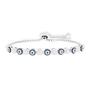 Silver or Gold Sterling Silver Cubic Zirconia Evil Eye Adjustable Slider Bracelet (Silver)