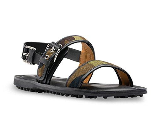 Sandali Car Shoe da uomo in camouflage e pelle nera - Codice modello: KUX720 3F40 F0334 - Taglia: 43 EU