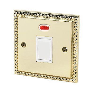 20A Double Pole Switch w/ Neon - Georgian Polished Brass - White Insert
