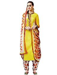 Shonaya Yellow Embroidered Cotton Satin Semi Stitched Salwar Suit