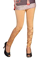 1 stop fashion Cream Cotton Lycra Leggings
