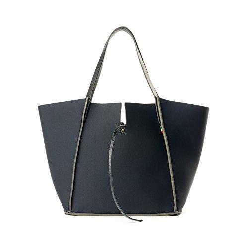 Almo - Borsa da donna made in Italy in neoprene con manici in vera pelle, colore: nero, a tracolla, a spalla con tracolla staccabile