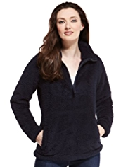 M&S Collection Half Zip Fluffy Fleece Top