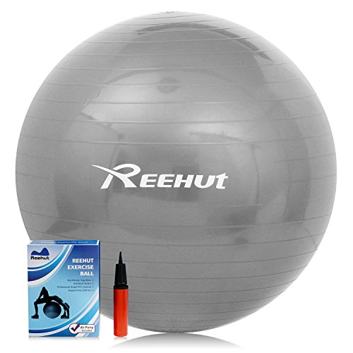 Reehut Anti-Burst Core Exercise Ball for Yoga, Balance, Workout, Fitness w/ Pump (Grey, 65CM)
