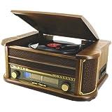 HOME&CO - Chaîne hi-fi rétro en bois avec platine disque, lecteur CD , K7, MP3, USB, radio LW/FM et fonction d'enregistrement