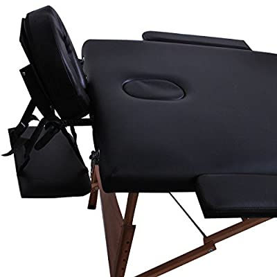 "ShoPpERcHoiCE 84""L 3 Section Portable Massage Table Facial SPA Bed Tattoo w/Carry Case Black"