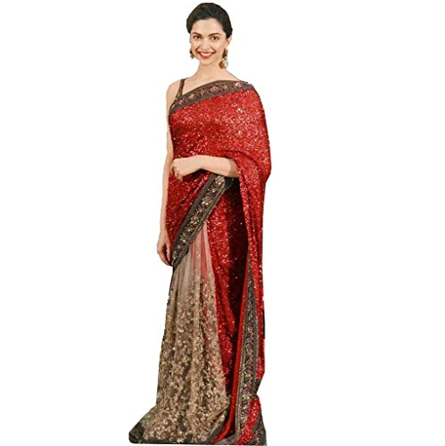 SKY UP Women\'s New Georgette Red Saree