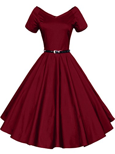 ILover Women 1950s V-Neck Vintage Rockabilly Swing Evening Party Dress (WineRed, Small)