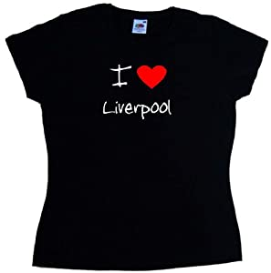 I Love Heart Liverpool Black Ladies Fitted T-shirt White Red Print-size 10