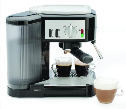Capresso 1050-Watt Pump Espresso And Cappuccino Machine, Black/Silver front-477870