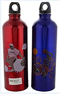 Beaut Stainless Steel Printed Water Bottle, 750 ml, Pack of 2