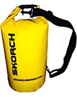 SKORCH Premium Quality Dry Bag (10L Yellow) Protects Your Gear From Water and Sand While You Have Fun. With Single Black Adjustable Strap Dry Bag Backpack Waterproof 8x16 inches (10 Liter) Dry Sack.