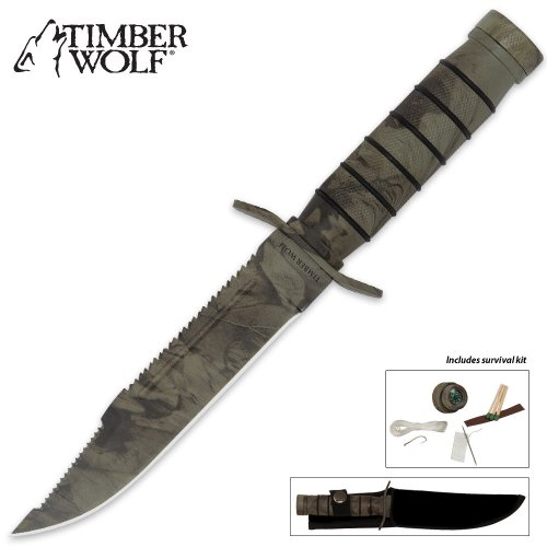 Timber Wolf Camo Jungle Survival Knife With Sheath And Survival Kit