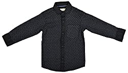 Zedd Boys' Cotton Shirt (E-C Zks1059F_14, Black, 14)