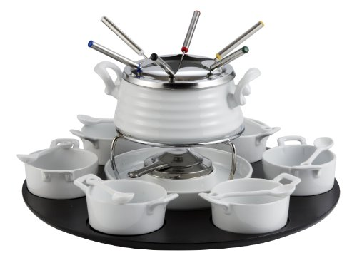 BON CHIC 23 PC FONDUE SET IN PORCELAIN