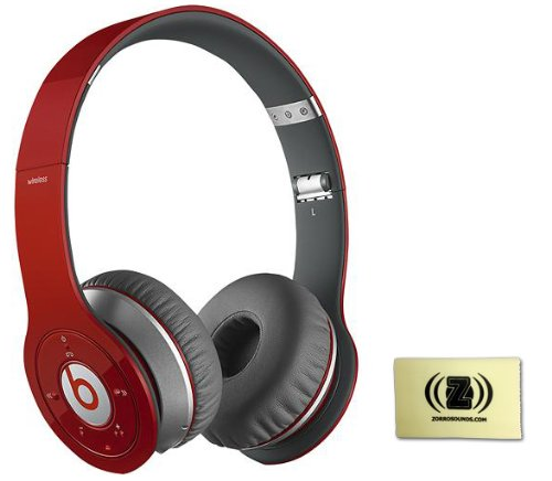 Beats By Dr. Dre Wireless On-Ear Headphones (Red) Bundle With Custom Design Zorro Sounds Cleaning Cloth