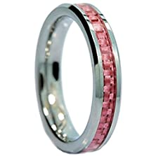 buy King Will 4Mm Women Tungsten Ring Wedding Band Pink Carbon Fiber Inlay Beveled Edges Comfort Fit(8)