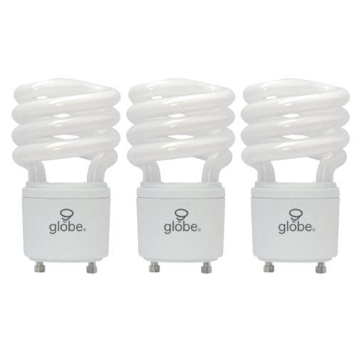 Globe Electric 84393 13-Watt Energy Saver T2 Cfl Gu24 Base Light Bulb, Soft White, 3-Pack