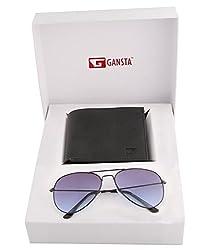 Gansta mens gift set of blue lens aviator sunglasses & bi-fold black wallet