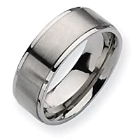 Chisel Ridged Edge Brushed and Polished Titanium Ring (8.0 mm) - Sizes 6-13