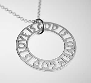 God Is Love is God Silver Dipped Pendant Necklace on 18