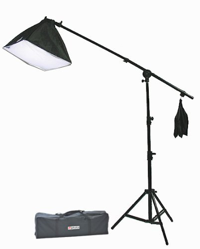 Ephoto Sb45B4 Continuous Lighting Boom Softbox Kit With 16-Inch Square Softbox, 7 Foot Boom Stand With Sand Bag And 4 45W 5500K Cfl Bulbs