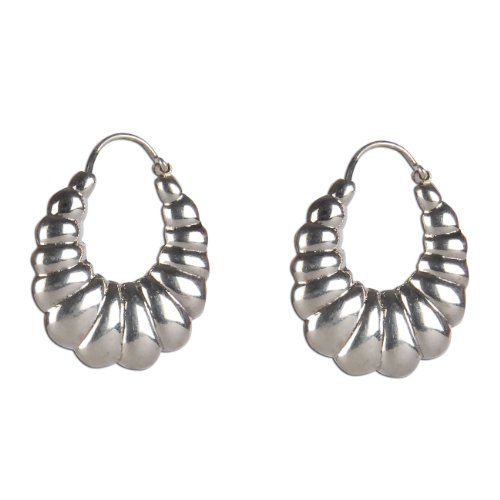 Bali Earrings Sterling Silver India Fashion 1.25 inch
